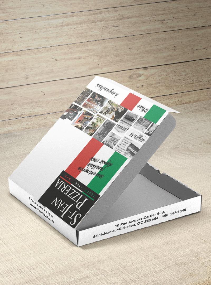 Conception graphique boîte pizza St-Jean Pizzeria