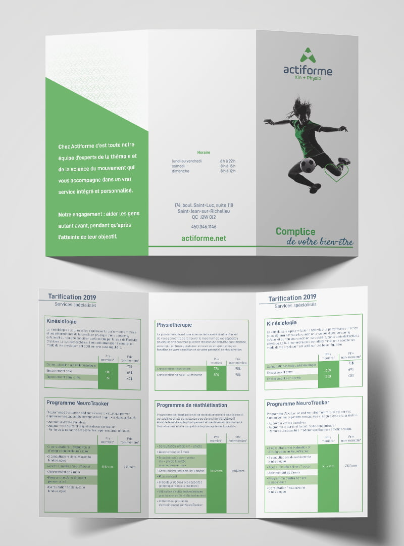 Conception graphique brochure Actiforme