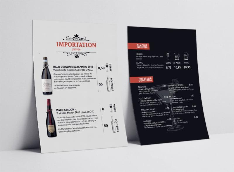 Conception graphique carton boissons St-Jean Pizzeria