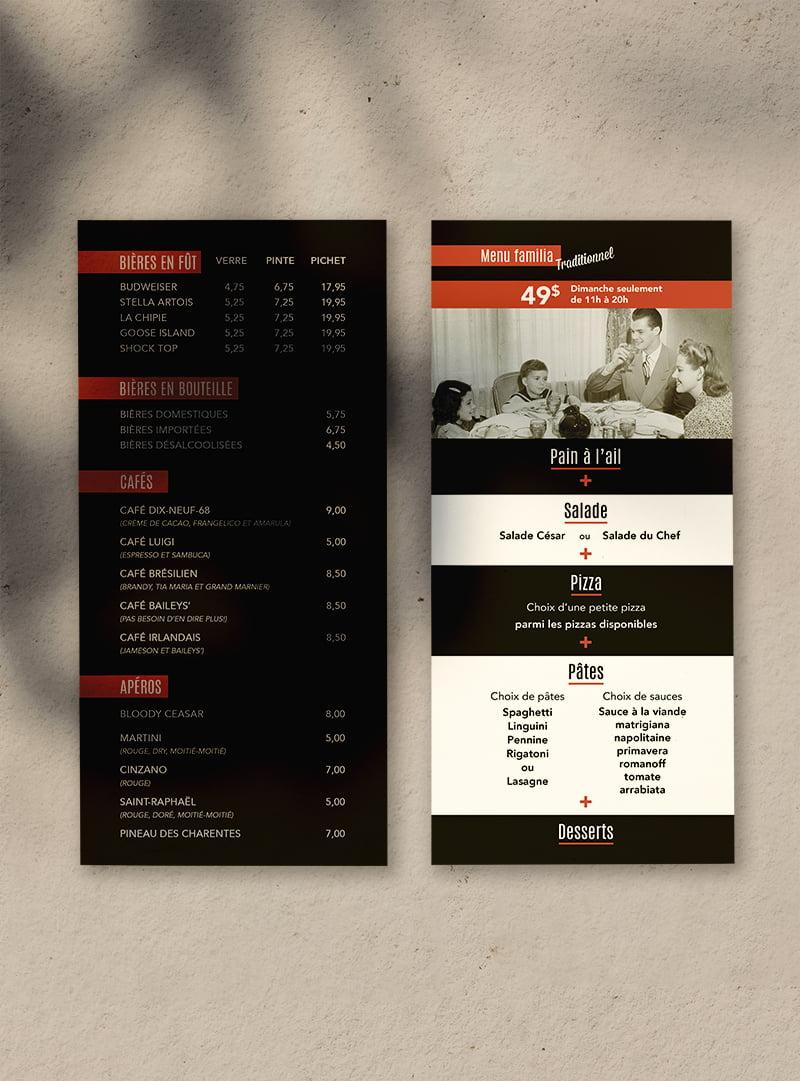 Conception graphique menu St-Jean Pizzeria