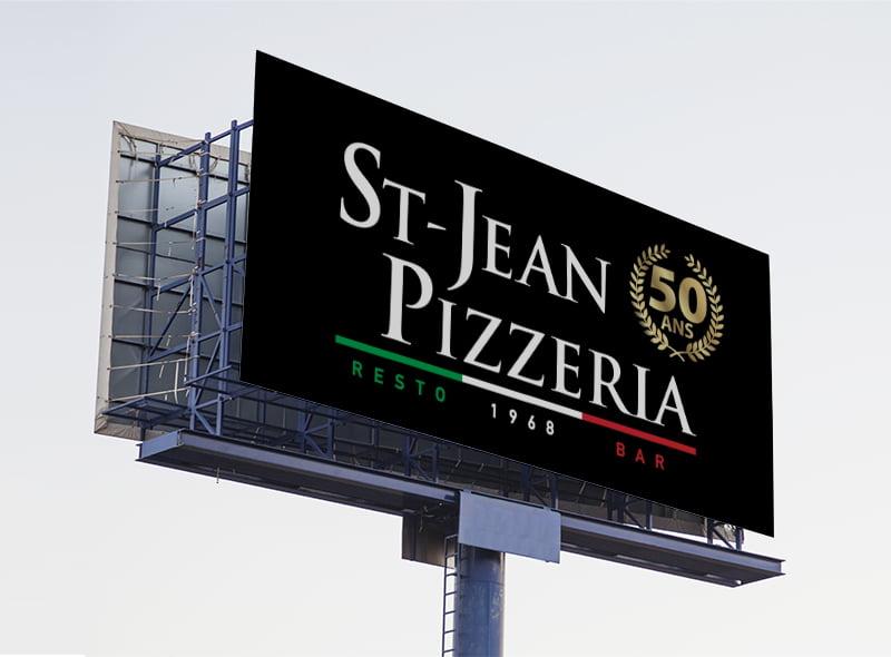 Conception graphique panneau autoroute St-Jean Pizzeria