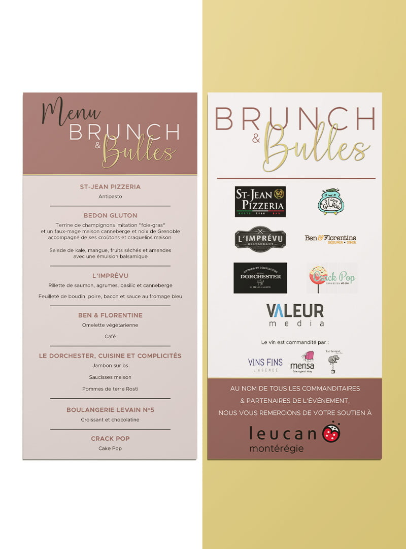Conception graphique menu Brunch & Bulles
