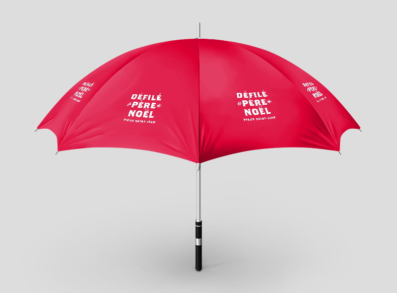 Défilé Noël : conception graphique parapluie