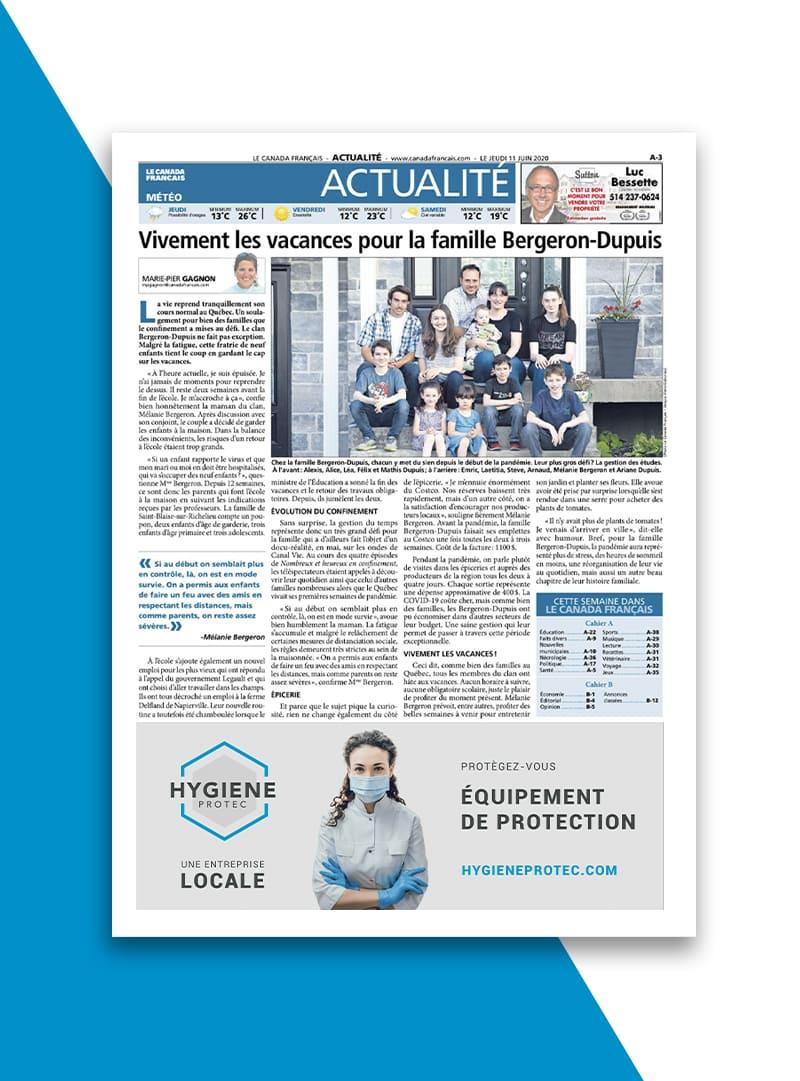 Hygiene Protec - Conception graphique journaux