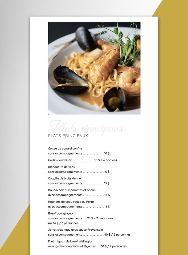 Restaurant l'imprévu Pour emporter - Création web