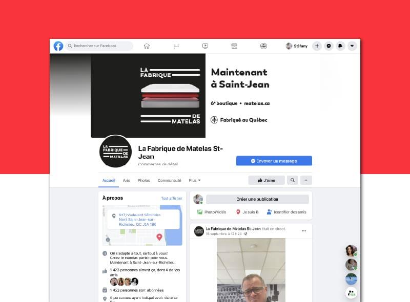 La Fabrique de Matelas - Marketing numérique -  facebook