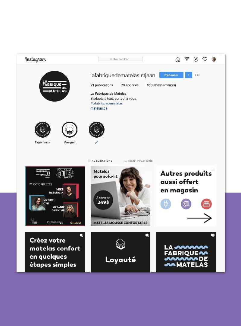 La Fabrique de Matelas - Marketing numérique -  instagram