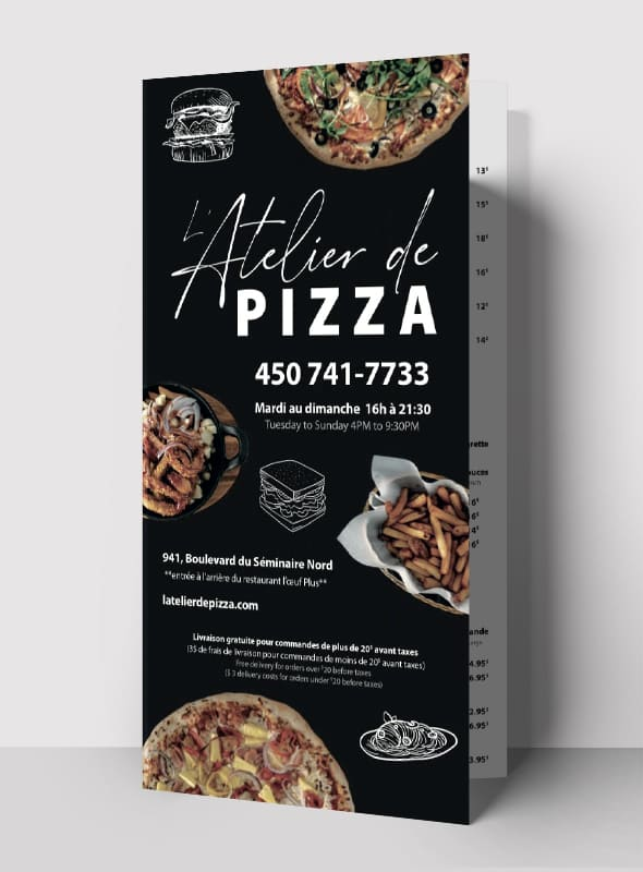 L'Atelier de Pizza - conception graphique menu