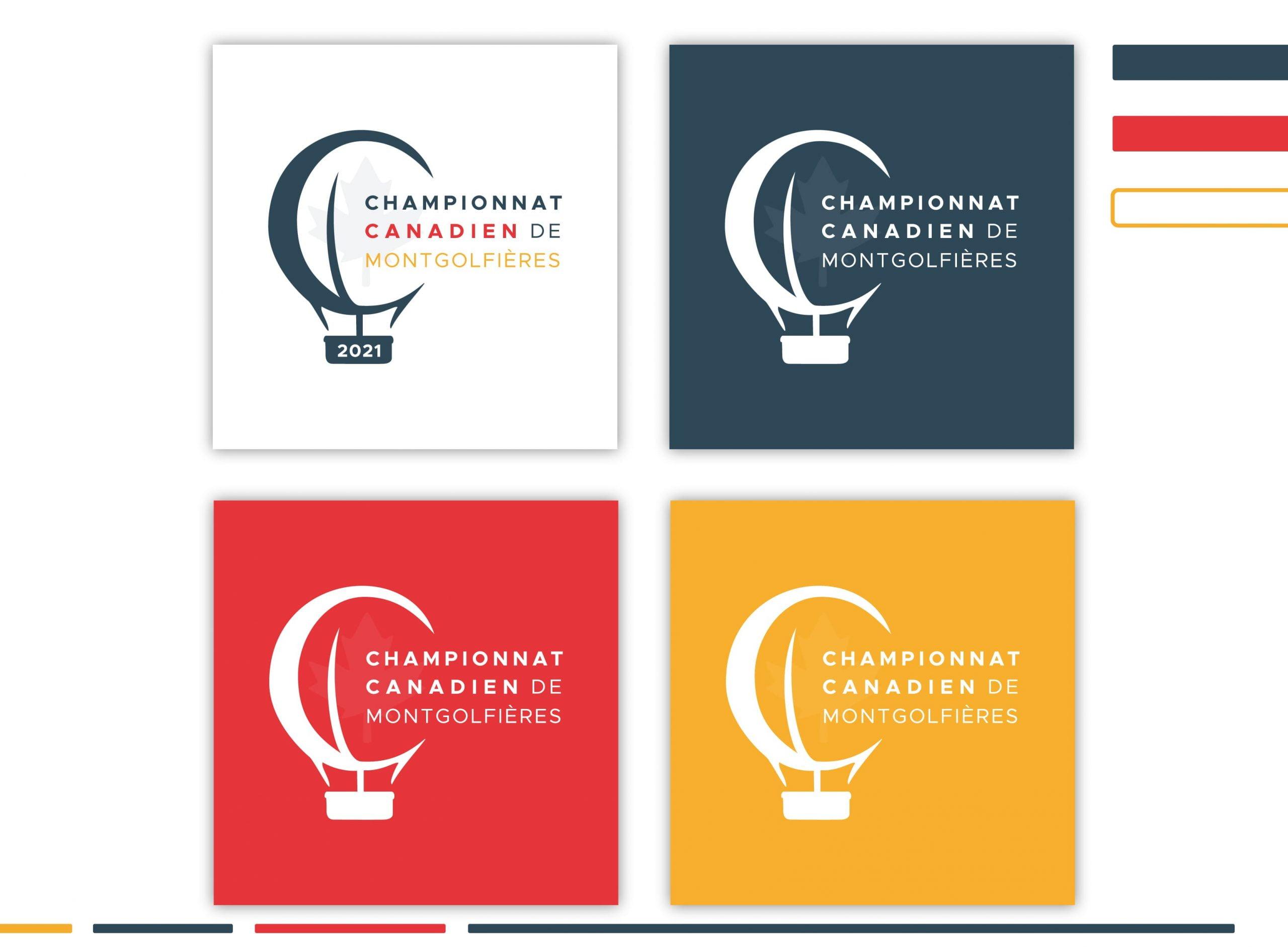 Championnat Canadien de Montgolfières - création image de marque - déclinaisons