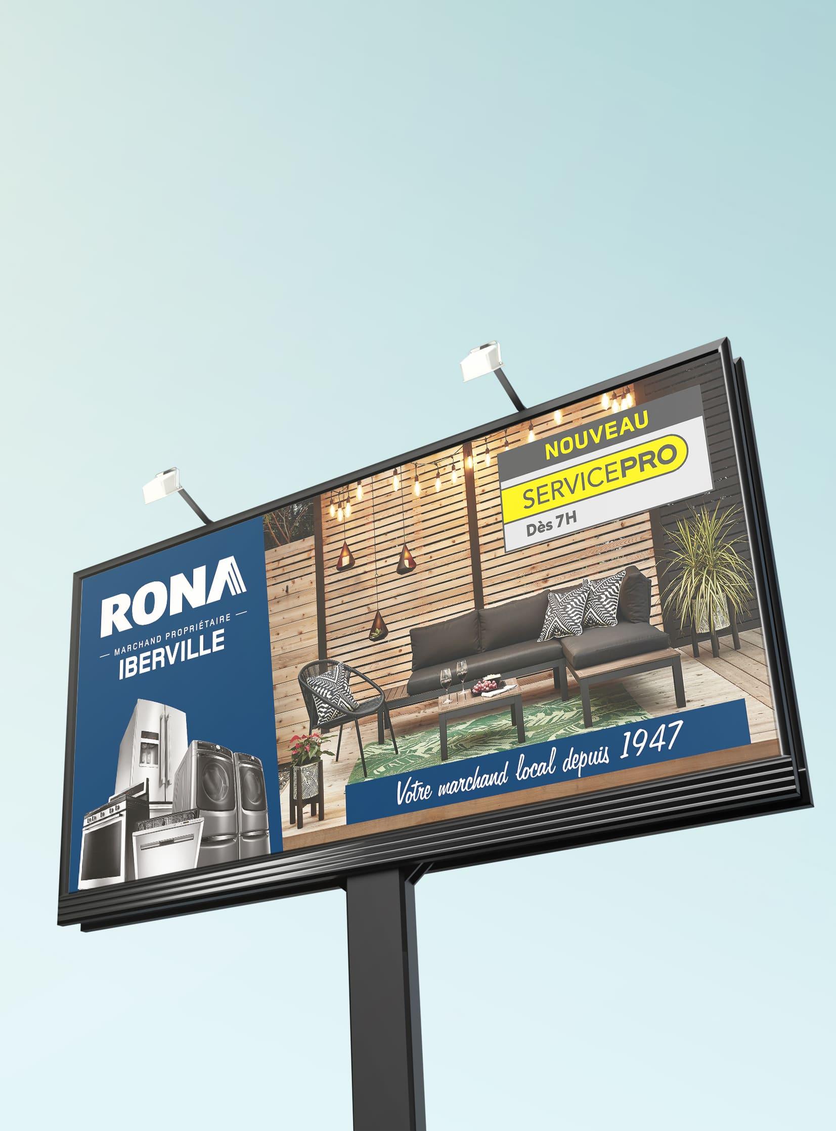 Placement média - Panneau routier Rona